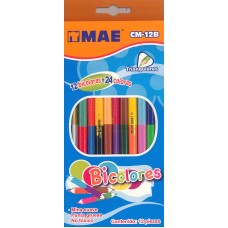 Colores MAE bicolor 12 lapices 24 colores