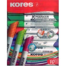 Marcadores Kores para Pintarron c/10 colores