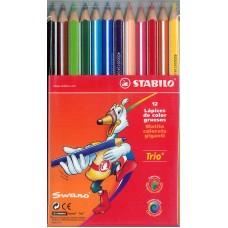 Lapiz Stabilo Trio c/12 Largos